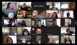 Capture d'écran de la rencontre sur Zoom pour le forum « Parentalité et travail à la ferme »